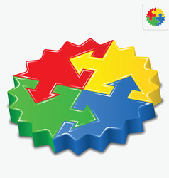 3d puzzle pieces with arrows vector image