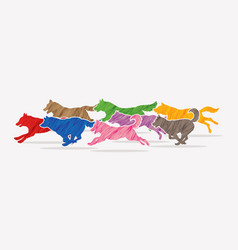 8 dogs running graphic vector image