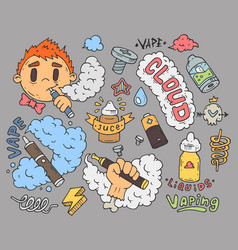 a set of cartoon stickers for vapers comic vector image