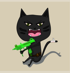 Aggressive cat is a terrorist with a gun cute vector