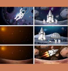 Astronaut and rockets in space vector