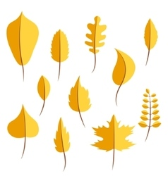 Autumn yellow withered leaves in flat style set vector