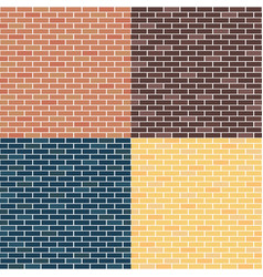 Background of brick walls red yellow blue vector
