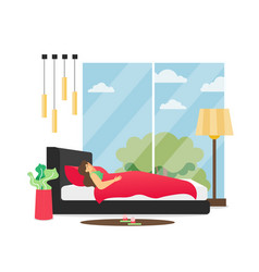 bedroom interior flat style design vector image
