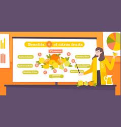Benefits citrus fruits flat poster vector