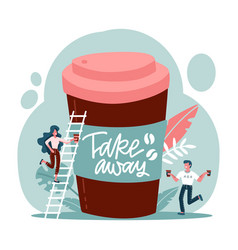 big disposable coffee cup and exhausted vector image
