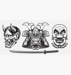 black and white samurai-themed vector image
