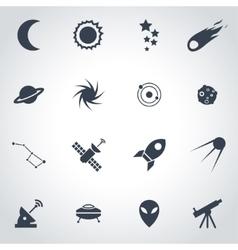 black space icon set vector image