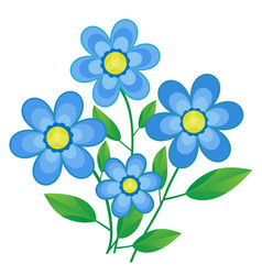 blue paper flowers arranged on white paper vector image
