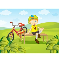 Boy sit on bench in the park vector