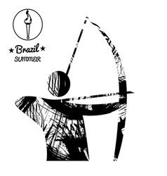 Brazil summer sport card with an abstract archery vector image