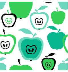 Brush grunge apple seamless pattern vector
