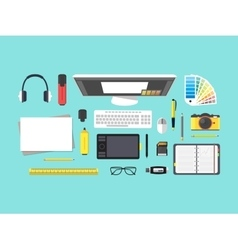 Cartoon Designer Workplace vector image