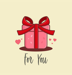 cartoon gift for valentine days vector image