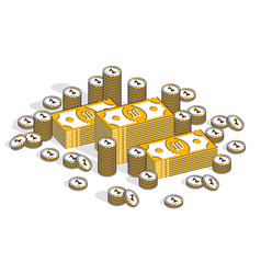 cash money banknites stacks and coins piles vector image