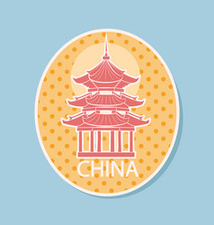 china traveling sticker with sight icon vector image
