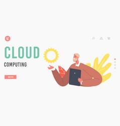 cloud computing landing page template senior man vector image