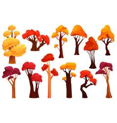 colorful autumn trees flat design icon set vector image