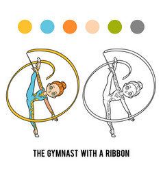 Coloring book gymnast with a ribbon vector