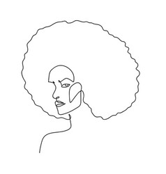 continuous line abstract female portrait with afro vector image
