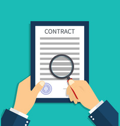 contract document with magnifying glass in hand vector image