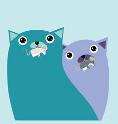 couple cat with rats vector image
