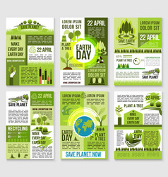 earth day poster template for ecology design vector image