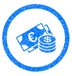 Euro and dollar cash rounded icon rubber stamp vector
