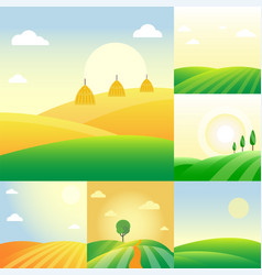 Farm agriculture banner rural landscape products vector