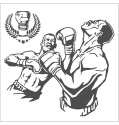 Fight between two boxers - monochrome vector image