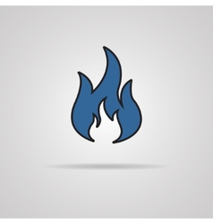 Fire icon with shadow - vector image
