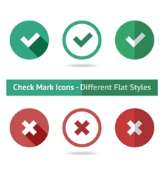 flat check marks set different kinds flat vector image