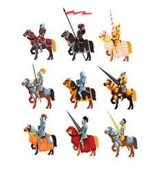Flat set of royal knights in steel shiny vector