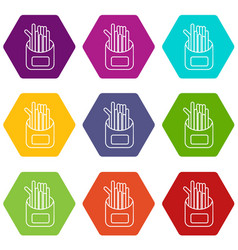 french fries icons set 9 vector image