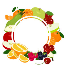 fruits background frame assorted colorful fruits vector image
