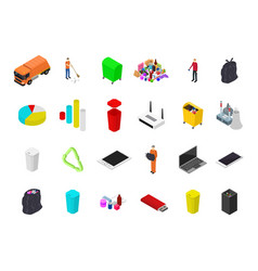 garbage recycling concept 3d isometric view vector image