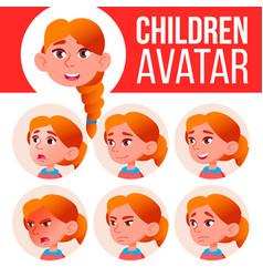 girl avatar set kid redhead high school vector image
