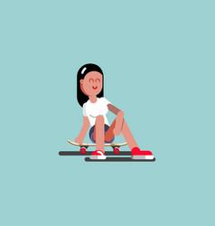 Girl skater siting on her board vector