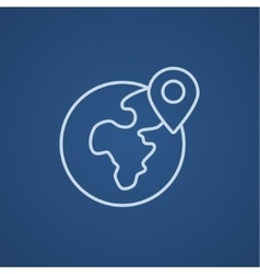 Globe with pointer line icon vector image