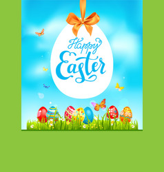 Green bright blue easter card vector