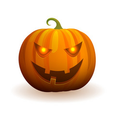Halloween pumpkin with evil face and flame in eyes vector