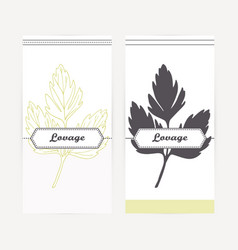 Hand drawn lovage in outline and silhouette style vector