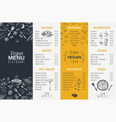 hand drawn restaurant menu food cooking vintage vector image