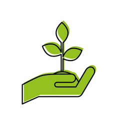 Hand human with plant vector