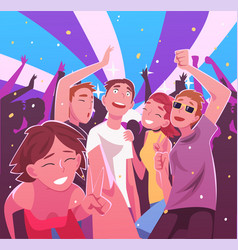 happy young men and women having fun and dancing vector image