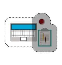 Isolated laptop and document design vector
