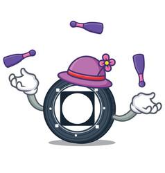 Juggling byteball bytes coin mascot cartoon vector