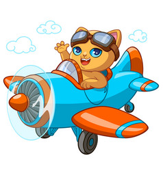 kitty pilot cartoon kitten vector image