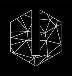 l geometric triangle blockchain font vector image