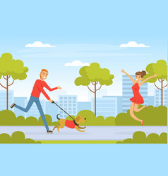 Laughing man pet owner running with his dog vector
